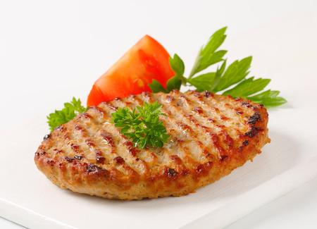 seared: Pan seared patty on cutting board