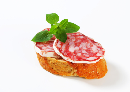 dry sausage: Crispy canape with French dry sausage
