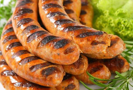 Detail of grilled German sausages Stock Photo