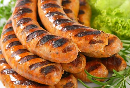 veal sausage: Detail of grilled German sausages