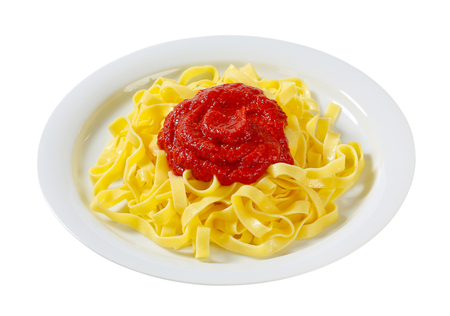 ribbon pasta: Thin ribbon pasta with tomato puree