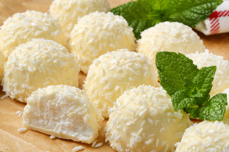 snowball: White chocolate snowball truffles rolled in coconut Stock Photo