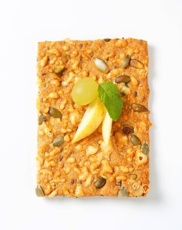 whole grain: Whole grain cracker with cheddar and pepitas