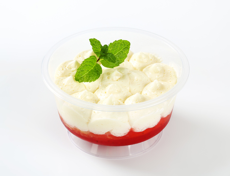 irresistible: Strawberry shortcake dessert in plastic cup Stock Photo