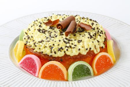 lemon cake: Lemon cake decorated with jelly candy Stock Photo