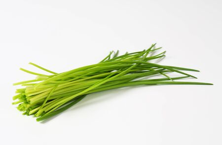 Fresh chives leaves on white background Stok Fotoğraf