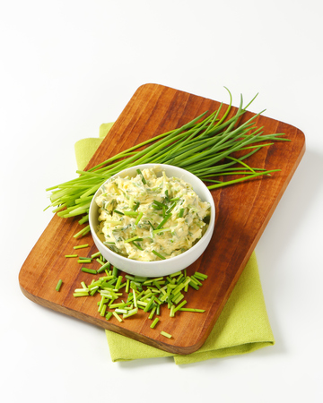 chive: Bowl of homemade chive butter