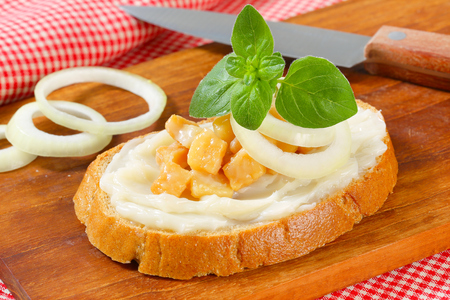 greaves: Slice of bread spread with lard and greaves