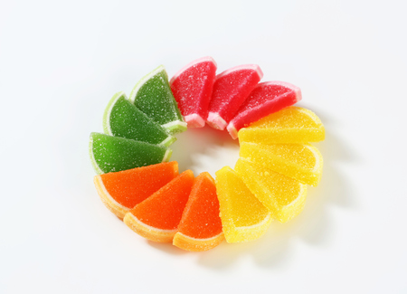 coated: Fruit-flavored gelatin candy coated with sugar Stock Photo