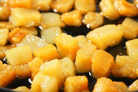 pan fried: Pan fried pieces of fatback Stock Photo