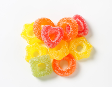 gelatin: Fruit-flavored gelatin candy coated with sugar Stock Photo