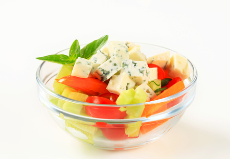 diced: Fresh vegetable salad with diced blue cheese Stock Photo