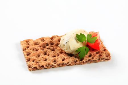whole grain: Whole grain crisp bread with cream cheese mousse Stock Photo