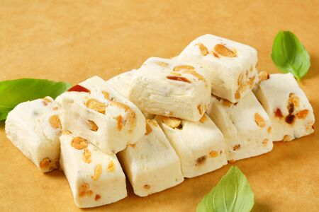 nougat: Soft nougat with peanuts and fruit