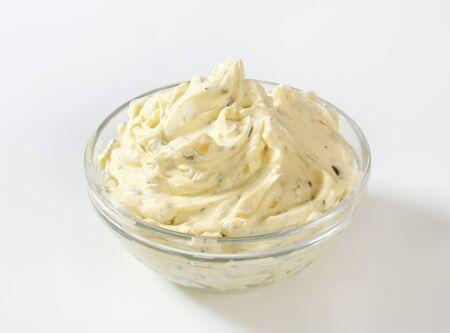 savory: Bowl of savory cream cheese spread Stock Photo