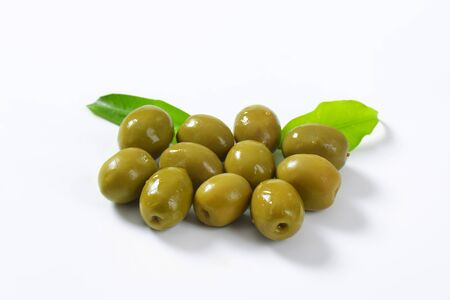 brine: Unpitted brine cured green olives Stock Photo