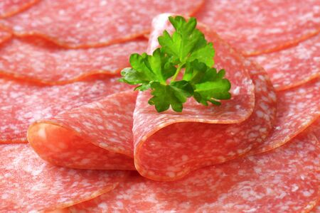 thinly: Thinly sliced salami sausage - detail