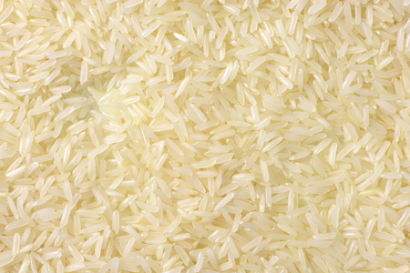 accompaniment: Uncooked Thai Jasmine rice - full frame Stock Photo