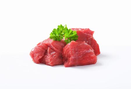 Raw beef cut into cubes Reklamní fotografie