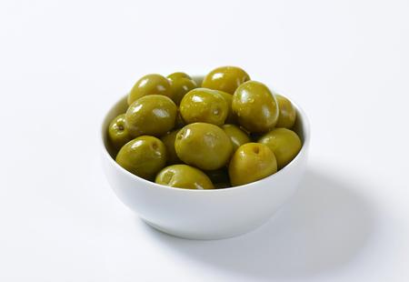 olive green: Bowl of brine cured green olives