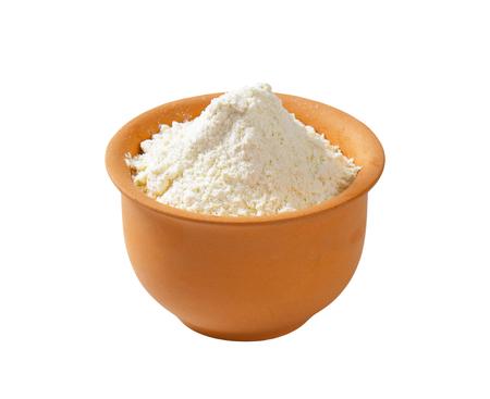 terracotta: Finely ground flour in terracotta bowl