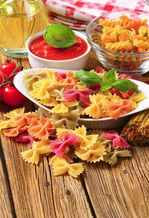 tomato puree: Flavored bow tie pasta and tomato puree
