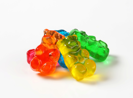 gummy: Fruit flavored gummy bears in assorted colors
