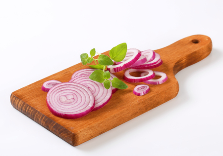 cutting: Sliced onion on cutting board