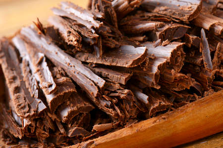 dessert topping: Chocolate shavings in natural edge bowl
