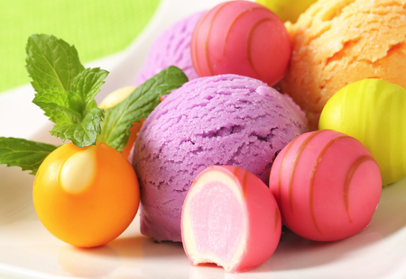 bonbons: Fruit-flavored ice cream and white chocolate bonbons with fruit ganache filling