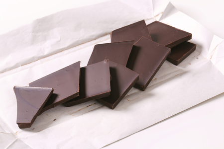 semisweet: Pieces of plain chocolate on wrapper