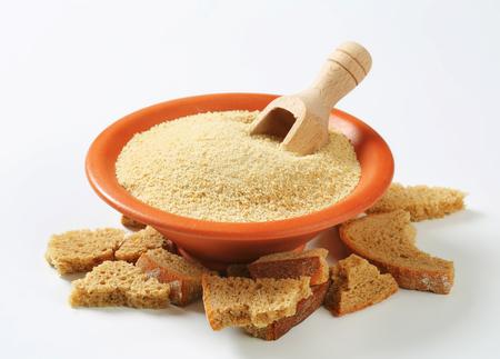 Bowl of dry bread crumbs 写真素材
