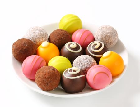 pralines: Assorted chocolate truffles and fruit ganache pralines Stock Photo