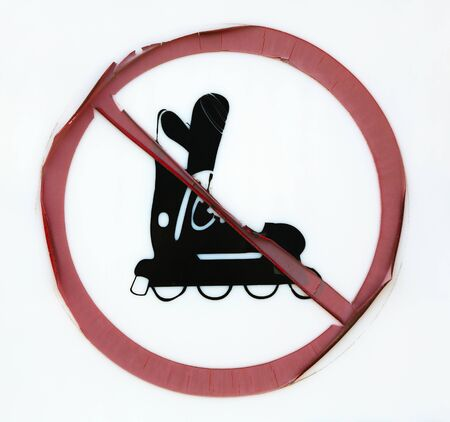 forbidding: Sign forbidding use of roller blades Stock Photo