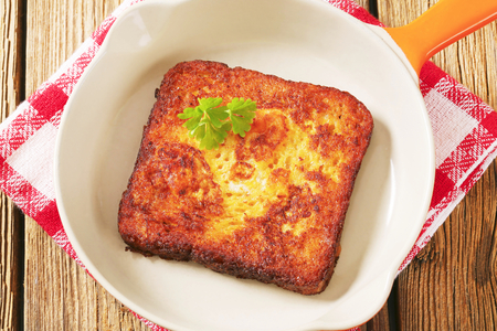 then: French toast - Bread soaked in beaten eggs and then fried Stock Photo