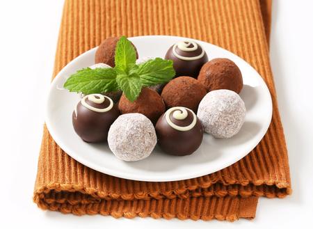 ganache: Delicious chocolate truffles with  ganache filling Stock Photo