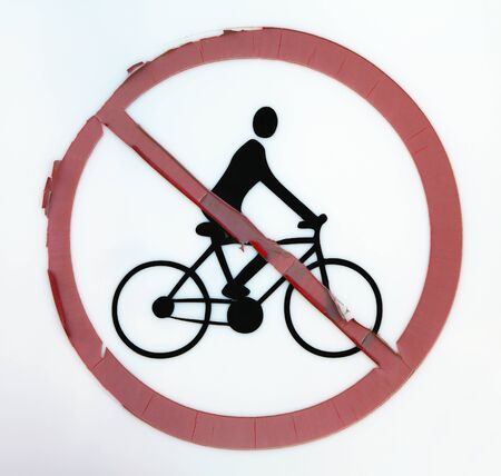 forbidding: Sign forbidding use of bicycles Stock Photo