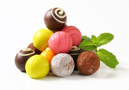 ganache: Assorted chocolate truffles and fruit ganache pralines Stock Photo