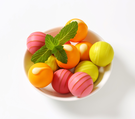 ganache: White chocolate pralines with fruit ganache filling
