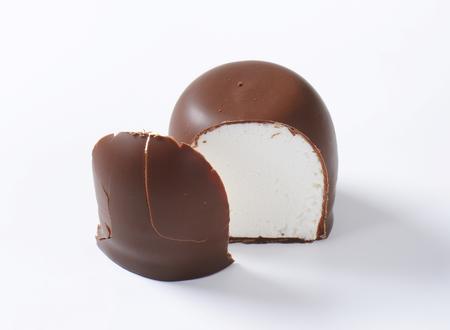 teacake: Marshmallow coated in milk chocolate Stock Photo