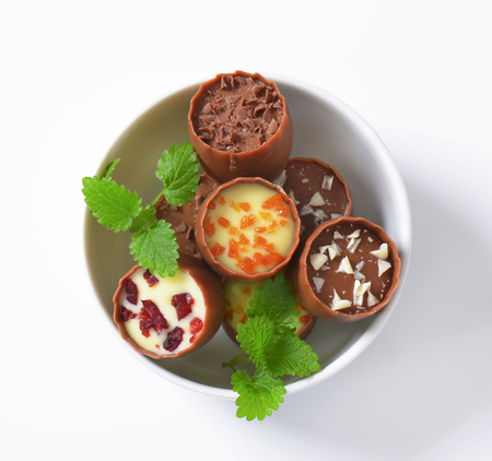 ganache: Delicate milk chocolate cups with liqueur and ganache centres