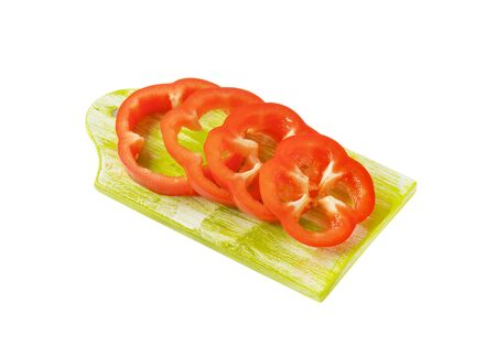 red bell pepper: Sliced red bell pepper  on cutting board