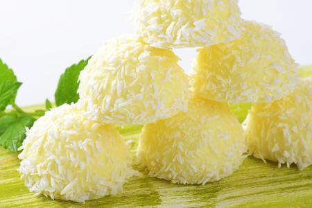 ganache: White Chocolate Coconut Snowball Truffles