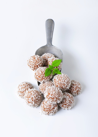ganache: Chocolate truffles rolled in coconut flakes Stock Photo