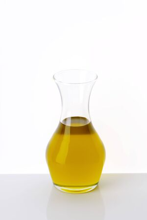 carafe: Olive oil in clear glass carafe