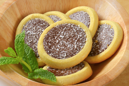 filling: Mini tarts with chocolate coconut filling Stock Photo