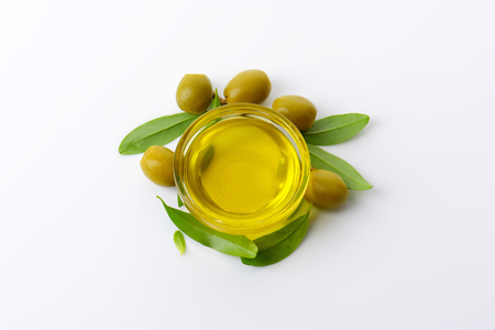 Olive oil in glass bowl Stok Fotoğraf