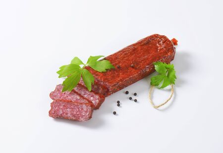 hunter's: Hunters salami - hard salami containing pork and beef, seasoned with pepper Stock Photo