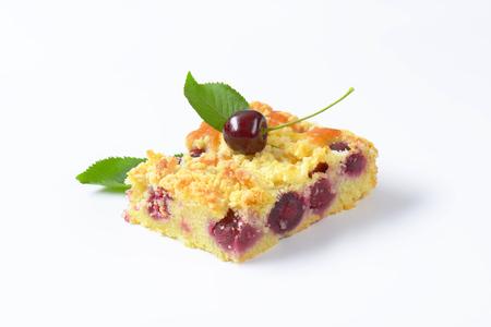 crumb: Sour cherry crumb bar on white background Stock Photo