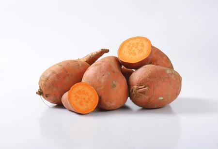 flesh: Sweet potatoes with orange flesh Stock Photo